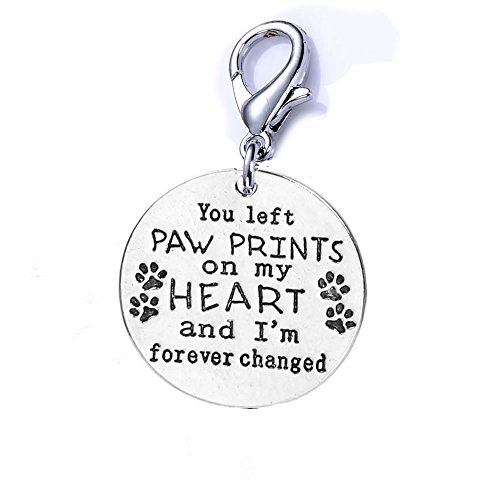 - Sexy Sparkles Loss of Pet Memorial Charm Dog Cat You Left paw Prints on My Heart and I'm Forever Changed Clip on Lobster Clasp Charm