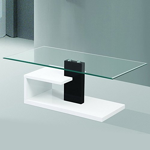 Gravity Decor Modern Tempered Glass Coffee Table with Black & White Glossy Stylish Base For Sale