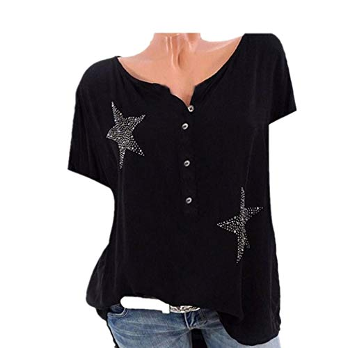 Plus Size Tops Women Shirt Button Five-Pointed Star Hot DrillBlouse