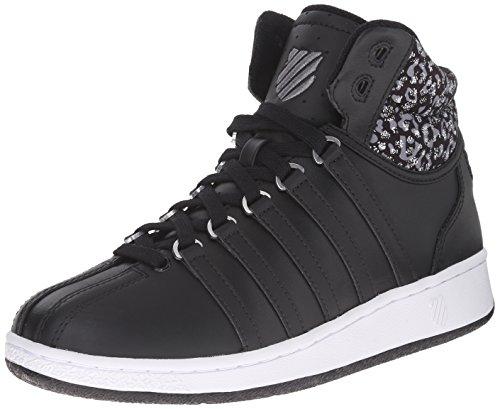 K-Swiss Women's Classic VN Mid Casual Shoe, Black/White/Leopard, 6.5 M US