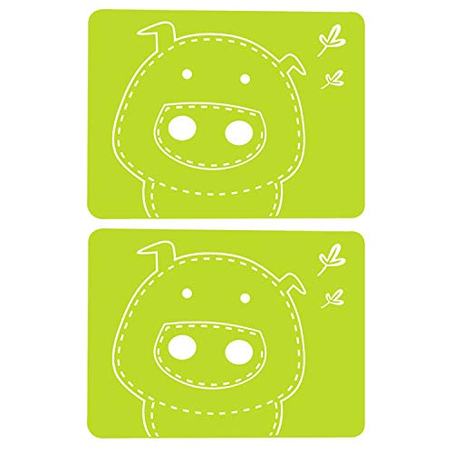 YING CHIC YYC 2 Pcs Lovely Pig Silicone Placemat Baking Mat Kitchen Waterproof Tablemat Heat-Resistant (Green)