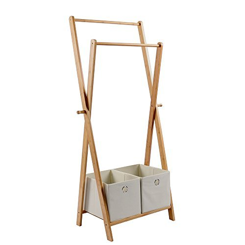Natural Bamboo Garment Rack,Portable Clothes Hanger Organizer, Multifuctional Clothes Storage Rack with 2 Flapless Storage Box