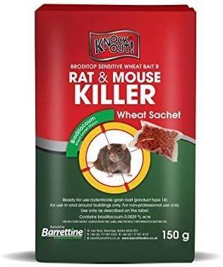 Knockout 150g Rat /& Mouse Wheat Killer Poison /& 1 Tamper Proof Bait Station Kit