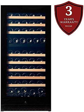 Vinoteca Pevino para 120 botellas | Vinoteca Premium con dos zonas de temperatura de 5 a 20 ° C | Respetuoso del medio ambiente[Clase de eficiencia energética A+]