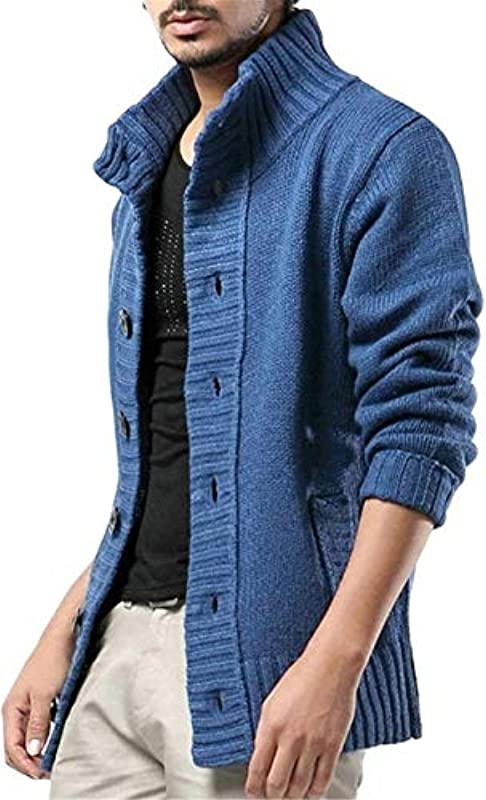 Cardigan Men's Sweater Fashion Knitted Stand Collar Sweater Men Solid Color Button Cardigan Coat,Denimblue,3X-L: Odzież