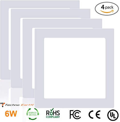Techno Earth 06W Dimmable Square Ceiling Panel Led Ultra Thin Glare Light Kits with Led Driver AC 85-265V - Natural White - 4 - Oyster Headboard