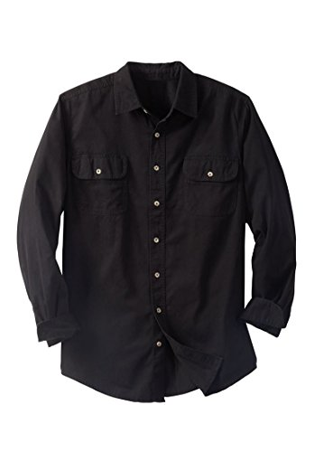 Boulder Creek Men's Big & Tall Long-Sleeve Renegade Shirt, Black (Flap Pocket Shirt)