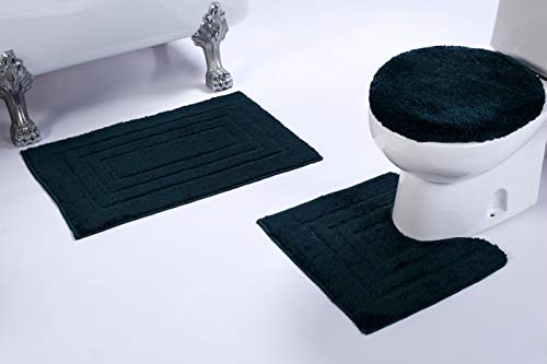 (3pc Rectangle Pattern Hunter Green Non Slip Bath Rug Set for Bathroom U-Shaped Contour Rug, Mat and Toilet Lid Cover New #)