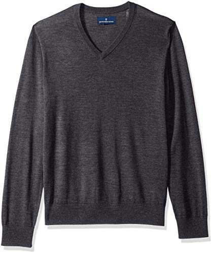 BUTTONED DOWN Men's Italian Merino Wool Lightweight Cashwool V-Neck Sweater, Dark Grey, Large