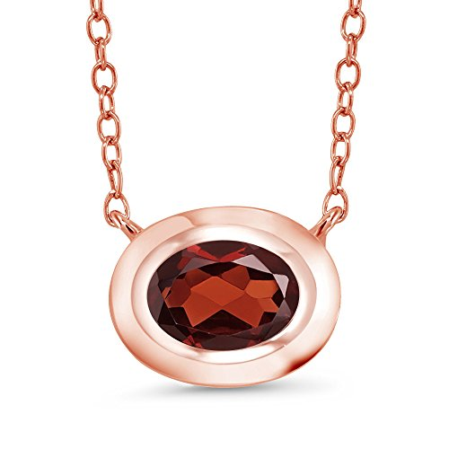 Gem Stone King 0.90 Ct Oval Red Garnet 18K Rose Gold Plated Silver Pendant With Chain