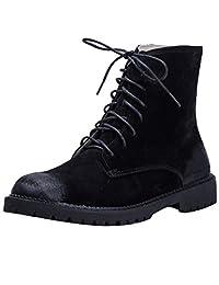 Zoulee Women's Pigskin Zipper Martin Boots Ankle Boots
