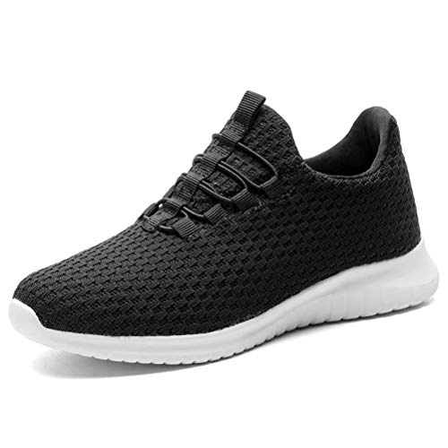 KONHILL Women's Breathable Sneakers Casual Knit Tennis Athletic Walking Running Shoes, Black, 36