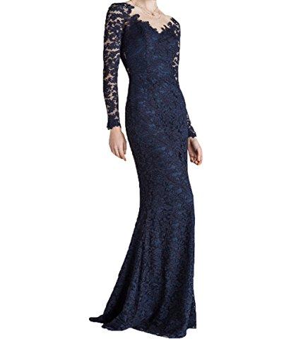 Fuer mia Braut Durchsichtig Ballkleider Blau Langarm Hochzeits Navy Abendkleider Brautmutterkleider Traumhaft La Mit 6CFdx0C