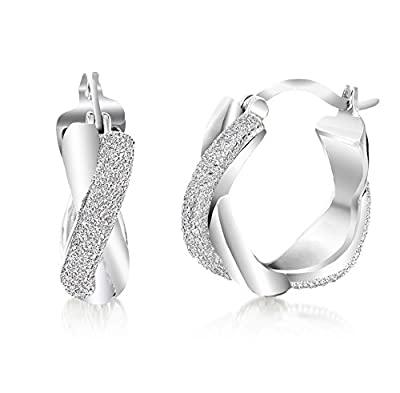 Lumineux Diamond Womens Diamond Accent Swirl Hoop Earrings with 18K White Gold & Rhodium Plated Brass from Lumineux Diamond