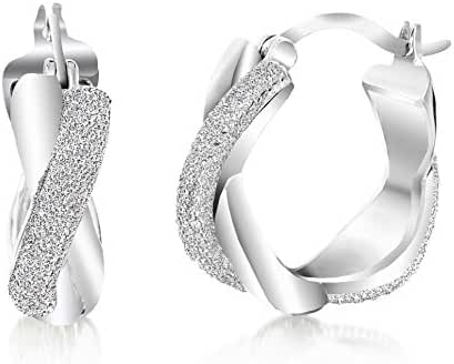 Lumineux Diamond Womens Diamond Accent Swirl Hoop Earrings with White Gold & Rhodium Plated Brass