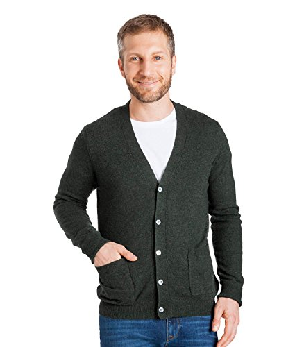 WoolOvers Mens Cashmere and Merino V Neck Knitted Cardigan Tweed Green, (Merino V-neck Jumper)