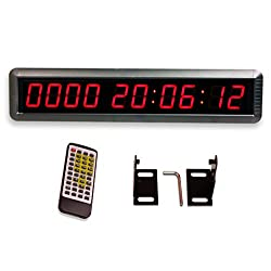 EU 1.8 LED Days Countdown CountUP and Clock Red Color 10 Digits 9999 Days with Hours Minutes Seconds IR Remote Control Aluminum Casese