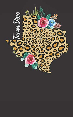 Texan Diva: Cheetah Print Texas Notebook Gift for Women - Pretty Watercolor Flowers
