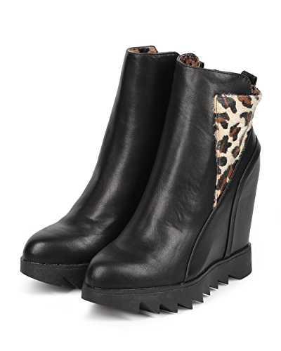 Dbdk Dk91 Kvinnor Läder Klack Enda Zip Kil Ridning Toffeln - Leopard