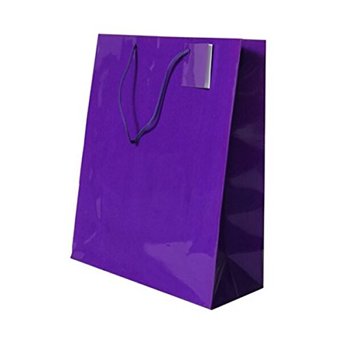 JAM Paper Glossy Gift Bags with Rope Handles - Large - 10'' x 5'' x 13 - Purple - 100/pack by JAM Paper