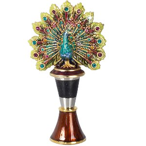 J Strongwater Peacock Wine Stopper w/Holder by Jay Strongwater