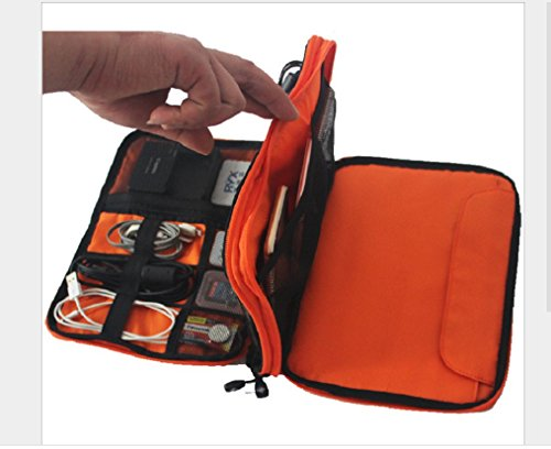 METORY Travel Accessories Electronics Organizer, Universal Cable Management Organizer Travel Bag For USB, Phone, iPad, Charger and Cable (Double Layer, Large, Grey and Orange) by METORY (Image #5)