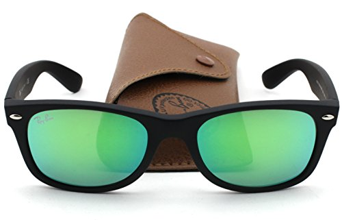 Ray-Ban RB2132 New Wayfarer Flash Series Unisex Sunglasses (Rubber Black Frame/Green Mirror Lens 622/19, 52)