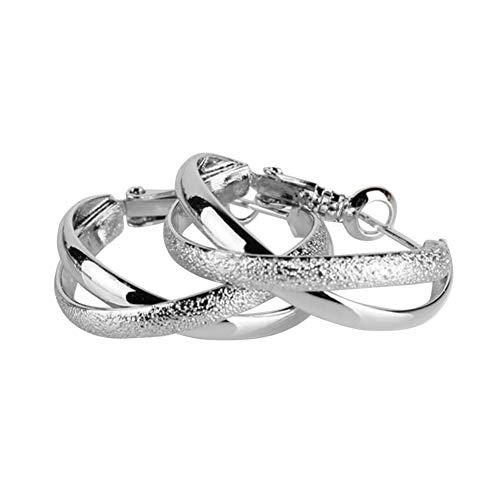 (Maserfaliw Earrings Women Vintage Hollow Geometric Cross Clip Hoop Earrings Circle Jewelry Gift - Silver)