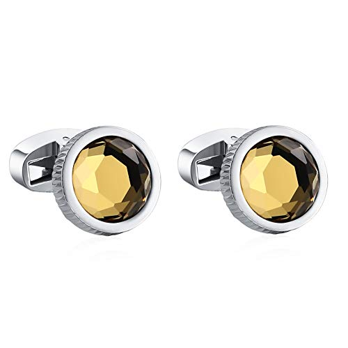 Alimab Silver Yellow Round Multi-Slice Yellow Cubic Zirconia Pair Cufflinks for Men's Stainless Steel Wedding Business in a Gift ()