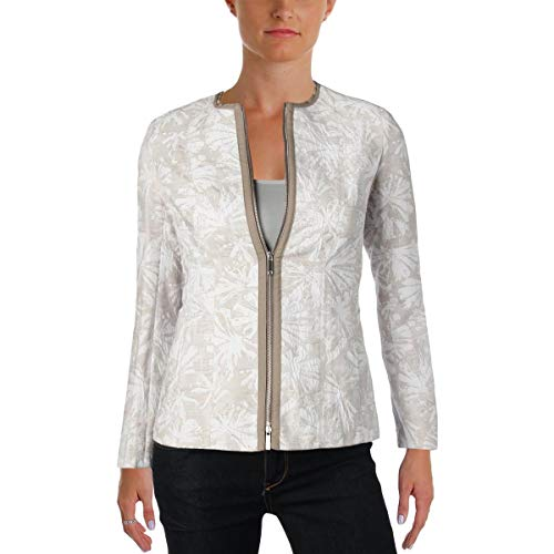 Lafayette 148 New York Womens Damien Jacquard Long Sleeves Jacket Beige 10