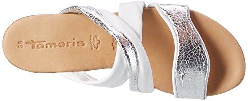 Blanc Tamaris Bout Sandales 191 White EU Silver Cognac 37 Ouvert 27114 Femme 88r5qwxH