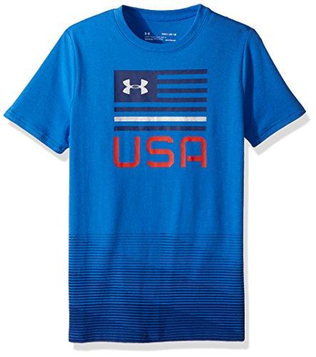 Under Armour Boys' Americana USA T-Shirt, Mediterranean (437)/Metallic Silver, Youth ()