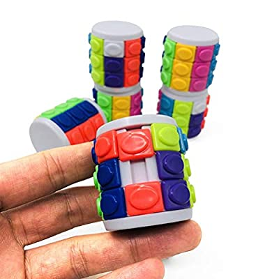 NOENNULL Jigsaw Puzzle 2 pcs Colorful 3D Rotate Slide Stress Cylinder Cube Kids Puzzle Toy Slider Toy Cube Clinder Sliding Puzzle Toy: Toys & Games