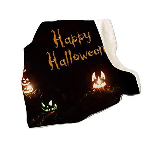 MIS1950s Nightmare Before Christmas,Double Thick Blanket 3D Digital Pumpkin Printing Square Blanket for Sofa Bed Halloween Series,150cmX130cm