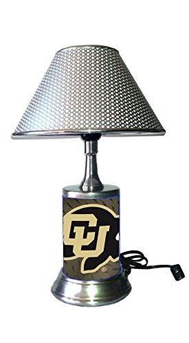 JS Table Lamp with Chrome Colored Shade, Colorado Buffaloes Plate Rolled in on The lamp Base (Colorado Buffaloes Lamp)