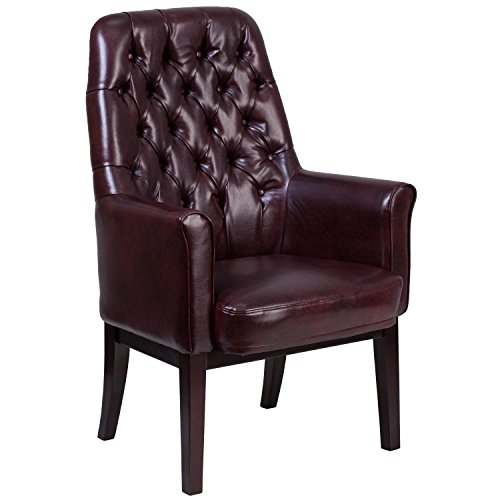 Flash Furniture High Back Traditional Tufted Burgundy Leather Side Reception Chair