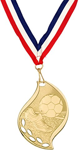 (Soccer Medal, Lot of 10, Click to Customize! Free Engraving. Medallion with Neck Ribbon)