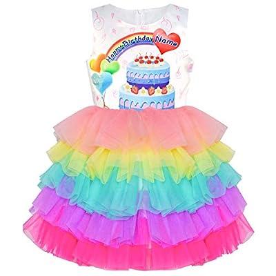 Sunny Fashion Girls Dress Birthday Princess Ruffle Dress Cake Balloon Print: Clothing