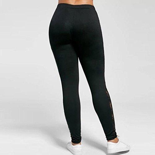 Plus Size Leggings, UBuyit Women Sexy Lace Floral Splicing Yoga Sport Elastic Pants Leggings (2XL, Black)