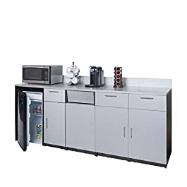 Coffee Kitchen Lunch Break Room Cabinets Model 4237 BREAKTIME 3 Piece Group Color Espresso/Silver Metalic- Factory Assembled (NOT RTA) Furniture Items ONLY.