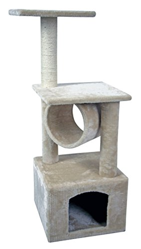 36' Cat Kitty Tree Scratcher Play House Condo Furniture Toy Bed Post House (Beige)