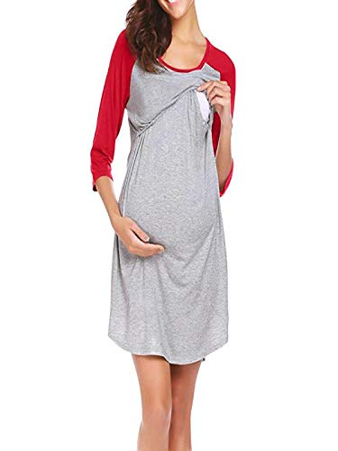 Maternité Nuisette Grossesse Chemise De Nuit Allaitement Femme, Robe De Maternité pour Femmes Nightshirt Vêtements de Nuit Rouge