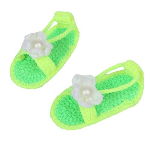 Smile YKK Strickschuh Strick Schuh Baby Unisex süße Stil One-Size 11cm Mit Schuhband Grün