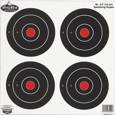 Birchwood Casey Dirty Bird Round Target (Pack of 12), 6-Inch Dirty Bird Splattering Targets