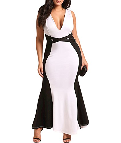 Wow Prom Gowns - Lalagen Womens Plus Size Deep V Sleeveless Bodycon Mermaid Evening Gown Maxi Dress Black XL