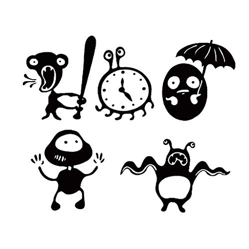Iusun Wall Stickers DIY Combination Cartoon Monster Wall Paper Mobile Removable Self-Adhesive Art Mural for Bedroom Living Room Restaurant Kids Nursery Kindergarten Mall Decoration (Black) ()