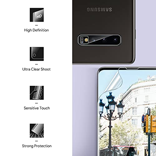[2+2 Pack] LK Compatible for Samsung Galaxy S10 6.1inch, 2 Pack Flexible TPU Screen Protector and 2 Pack Camera Lens Protector [Ultrasonic Fingerprint Support] HD Clear Easy Installation