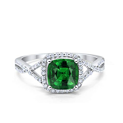 - Blue Apple Co. Halo Infinity Shank Engagement Ring Cushion Simulated Emerald Round Cubic Zirconia 925 Sterling Silver, Size-10