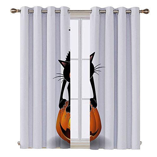 SATVSHOP 100% Blackout Window Curtain Panels - 108W x 96L Inch- Liner for Nursery.Halloween Black Cat Pumpkin Head Weird Cartoon Character Halloween Humor Theme Art Orange Black.]()