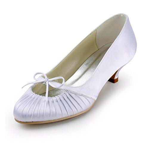 Minishion Tmz342 Femmes Chaton Talon Satin Nuptiale De Mariage Soir Formelle Soirée Pompes Chaussures Blanc-5cm Talon